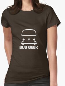 VW Camper Bay Bus Geek White Womens Fitted T-Shirt