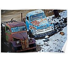 Studebaker and Ford at the Fence Poster