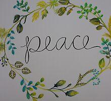 Peace Wreath // Original Watercolor Print by emilymarschner