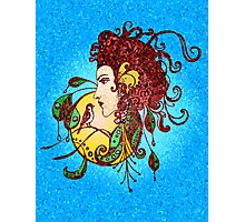 Stained Glass Tattoo Girl Photographic Print