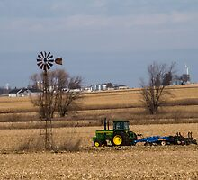 Fall Field Work Around a Windmill by Deb Fedeler