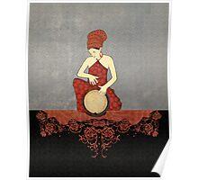 Rastafari Woman on Bongo Drum Poster