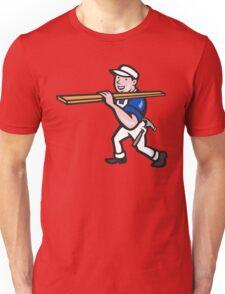 Carpenter Worker Carrying Timber Cartoon Unisex T-Shirt