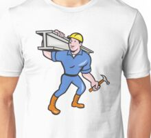 Construction Steel Worker Carry I-Beam Cartoon Unisex T-Shirt