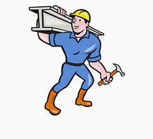 Construction Steel Worker Carry I-Beam Cartoon T-Shirt