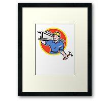 Construction Steel Worker Carry I-Beam Circle Cartoon Framed Print