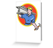 Construction Steel Worker Carry I-Beam Circle Cartoon Greeting Card