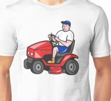 Gardener Mowing Rideon Lawn Mower Cartoon Unisex T-Shirt