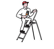 House Painter Standing on Ladder Cartoon Photographic Print