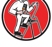 House Painter Paintbrush on Ladder Cartoon by patrimonio