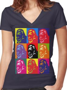 Bigfoot Portrait Women's Fitted V-Neck T-Shirt