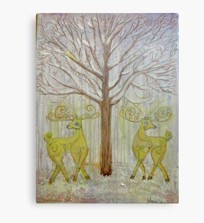 Golden Pastel Dear Deer Canvas Print