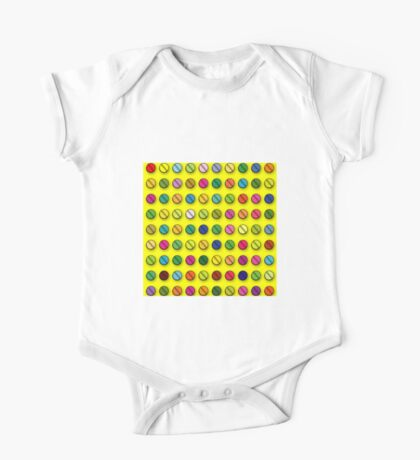 Pop Art Multi-coloured Pills Pattern One Piece - Short Sleeve