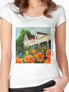 The rose gardens. Franklin Tasmania Women's Fitted Scoop T-Shirt