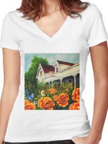 The rose gardens. Franklin Tasmania Women's Fitted V-Neck T-Shirt