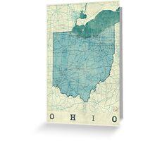 Ohio Map Blue Vintage Greeting Card