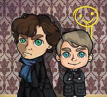 Chibi Sherlock and Watson by SaMtRoNiKa
