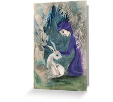 Witch and White Hare Greeting Card