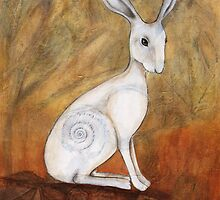 White Hare at Sunset by Maria Forrester