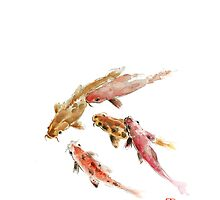 Red Koi Fish Fishes Orange Tangerine Caramel Brown Zodiac Pisces watercolor painting by Johana Szmerdt