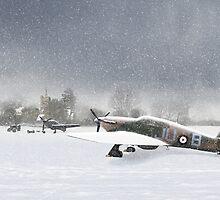 Hurricanes in snowy field with church by Gary Eason + Flight Artworks