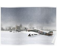 Hurricanes in snowy field with church Poster