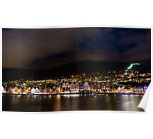 Bergen old town at night Poster