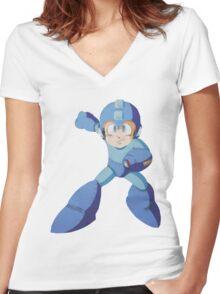 Mega Man 3 - Polygon Mega Man Women's Fitted V-Neck T-Shirt