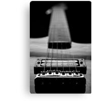 Guitar Strings Black and White Canvas Print