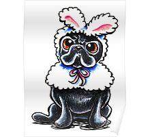 Grumpy Pug Bunny Poster