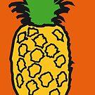 Pineapple pop orange print by drunkonwater