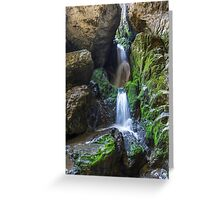 Underground river and waterfall in Romania Greeting Card