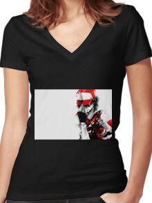 Pokemon Trainer Red Women's Fitted V-Neck T-Shirt