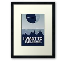 My I want to believe minimal poster-deathstar Framed Print
