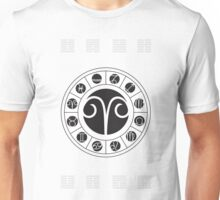 Aries Zodiac Wheel with I Ching Hexagrams Unisex T-Shirt
