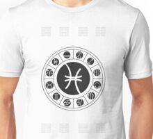 Pisces Zodiac Wheel with I Ching Hexagrams Unisex T-Shirt