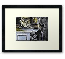 Watercolor Sketch - The Fountain of Place du Grand-Mézel, Genève. 2014 Framed Print