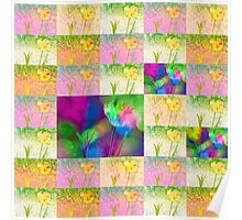 Happy Spring Tulips Flower Collage Poster