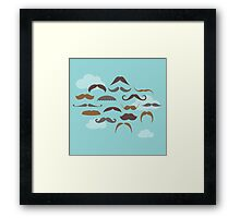 Vector Mustaches Floating in the Sky Framed Print