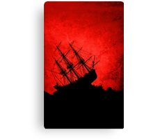 Red Storm Tossed Ship Canvas Print