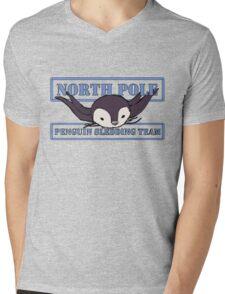 Penguin Sledding Team Mens V-Neck T-Shirt