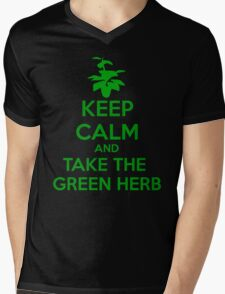 KEEP CALM AND TAKE THE GREEN HERB Mens V-Neck T-Shirt
