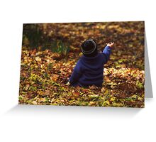 """""""Parker in the Autumn Leaves """" Greeting Card"""