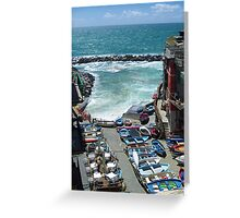 The small harbour of Riomaggiore Greeting Card