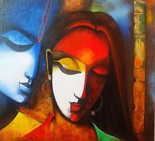 Radha Krishna modern art by Sheetal Bhonsle