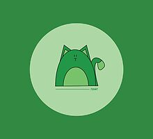 Green Cat iPad Case by Louise Parton