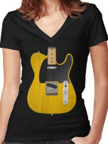 Electric Guitar Women's Fitted V-Neck T-Shirt