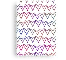Multi Coloured Hearts Canvas Print