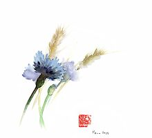PAPER Field Cornflower Cornflowers Blue Yellow Green watercolor painting by Johana Szmerdt