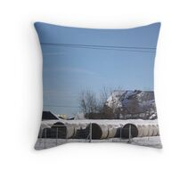 FALLEN BARN WITH ROUND BALES Throw Pillow